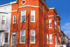 Maisons urbaines historiques en voisinage de Shaw de Washington DC, Etats-Unis Photos stock