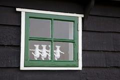 Maisons vertes dans le musée de Zaanse Schans Photo libre de droits