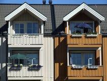 Maisons victoriennes colorées jumelles Photographie stock