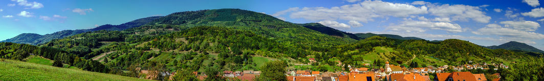 Maisonsgoutte panoramic view, autumn in France Royalty Free Stock Photos