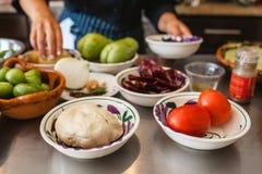 Maisteigmexikaner food Masa de Maiz und mexikanische ingredientes für Lebensmittel in Mexiko City lizenzfreie stockfotos