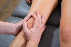 Maitland knee therapy massage on woman leg Stock Photography