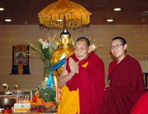 Maitreya心脏寺庙遗物游览'喇嘛Ciampa Monlam 库存照片