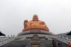 Maitreya菩萨xuedousi寺庙古铜雕象  库存照片
