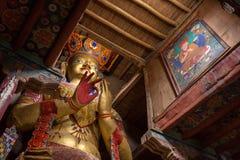 Maitreya Boedha in Basgo Gompa in Ladakh, India Royalty-vrije Stock Foto