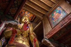 Maitreya Buddha in Basgo Gompa in Ladakh, India Royalty Free Stock Photo