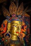 Maitreya Buddha statue. Close up Tibetan monastery Thiksey Gompa. Ladakh, Jammu and Kashmir, India Royalty Free Stock Images