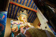 Maitreya buddha statue in Namgyal Tsemo Monastery with windowlig. Namgyal Tsemo Monastery or Namgyal Tsemo Gompa is a Buddhist monastery in Leh district, Ladakh Stock Images
