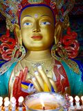 Maitreya Buddha statue at Thiksay Monastery in Leh Ladakh region in Kashmir India. Royalty Free Stock Photography