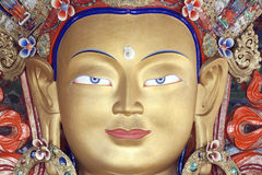 Leh, Ladakh, India, Maitreya Buddha statue at the Thikse Tibetan Buddhist Monastery. Face of Thicksey Gompa or statue of the Maitreya Buddha at the Thikse Stock Photo