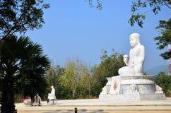 Maitreya White Buddha at Wat Pusawan Phetchaburi Royalty Free Stock Image