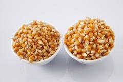 Maize corn. Compare maize corn of different grade Stock Photo