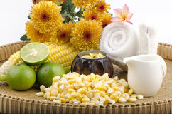 Maize, Corn (Zea mays Linn.) natural spa. Corn (Zea mays Linn.) Mixed with boiling water and lemon. Add moisture to the skin and aging. Because vitamin C, B Stock Image