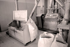 Maize flour. Mill production work Royalty Free Stock Images
