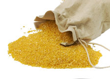 Maize flour in the bag. Gluten free, isolated on the white Royalty Free Stock Images