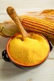 Maize  flour over bowl Stock Photography