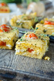 Maize polenta with cherry tomatoes Stock Photography