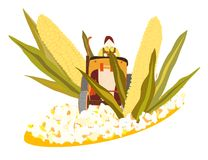 From Maize to popcorn. Illustration of cultivation of maize and it ending up as popcorn Royalty Free Stock Photography