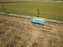 Maize trailer, corn harvesting from the field. Mais. Maize trailer, corn harvesting from the field using a metal container, trailer. Mais Royalty Free Stock Images