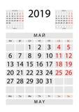 Maj 2019 Calendar arket med April och Juni, ryss och Englis royaltyfri illustrationer