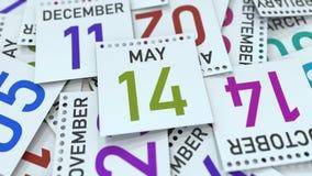 Maj 14 datum på den betonade kalendersidan, tolkning 3D stock illustrationer