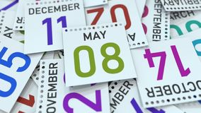 Maj 8 datum på den betonade kalendersidan, tolkning 3D royaltyfri illustrationer