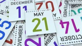 Maj 21 datum på kalenderbladet bland andra sidor, tolkning 3D royaltyfri illustrationer