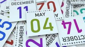 Maj 4 datum p? kalenderbladet framf?rande 3d royaltyfri illustrationer