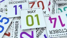 Maj 1 datum p? kalenderbladet framf?rande 3d vektor illustrationer