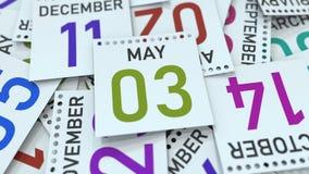 Maj 3 datum p? kalendersidan framf?rande 3d vektor illustrationer