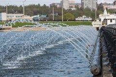 Maj 05, 2016: Fotografia fontanna w Cheboksary zatoce Cheboksar Obrazy Stock