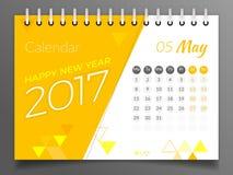 Maj 2017 Kalendarz 2017 Zdjęcie Stock