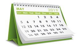 Maj 2019 kalender stock illustrationer