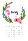 Maj kalender stock illustrationer