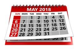 Maj 2018 kalender stock illustrationer