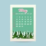 Maj 2017 kalender med liljekonvaljen Royaltyfria Bilder