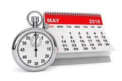 Maj 2018 kalender med stoppuren framförande 3d Arkivbilder