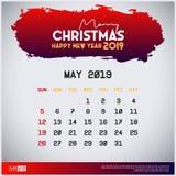 2019 Maj kalendermall glad jul och r?d titelradbakgrund f?r lyckligt nytt ?r vektor illustrationer
