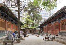Maj 17 2017 Lanzhou Kina Folk och gammalt område i staden av Lanzhou Kina Royaltyfria Bilder