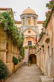 Maj 2013: monaster Agia Triada Tsagaroli w Chania regionie na wyspie Crete, Grecja Zdjęcia Royalty Free