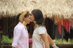 Maj 11, 2011, Pattaya, Tajlandia Padaung etniczne kobiety obraz stock