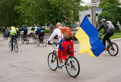 Maj 30, 2015: Poltava Ukraina Jeździć na rowerze rower paradę Obrazy Stock