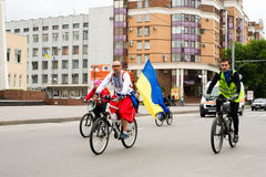 Maj 30, 2015: Poltava ukraine Cykla cykeln ståta Royaltyfri Bild