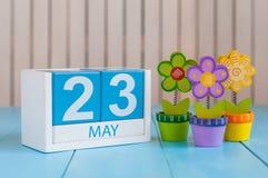 Maj 23rd Bilden av kan den träkalendern för färg 23 på vit bakgrund med blommor Vårdagen, tömmer utrymme för text Royaltyfri Fotografi