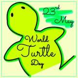 Maj 23rd Världssköldpaddadag logodesign i guling- och gräsplansignal vektor illustration Fotografering för Bildbyråer