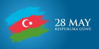 28 Maj Respublika gunu Översättning från azerbaijani: 28th May R Arkivbild