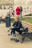 Maj 4, 2015 Rosja, Moskwa spacer w parku wymieniającym po Gorky Obrazy Royalty Free