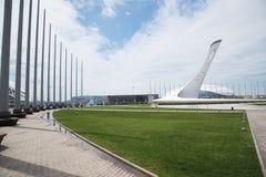 Maj 21, 2017, Sochi, Rosja Pochodnia Olimpijski płomień w O zdjęcie royalty free