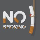 Maj 31st värld ingen tobakdagaffisch Inget - röka underteckna in cigarettbrev och den hängande cigaretten Royaltyfria Bilder