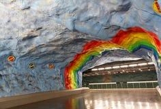 Maj 31, 2016 stockholm Wnętrze i eskalatory stacja Fotografia Royalty Free